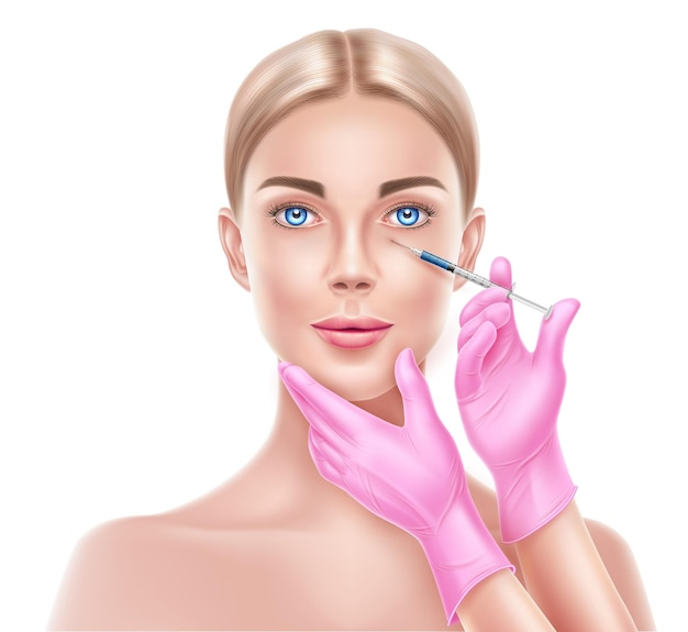 Chirurgia plastica del viso vettoriale con le mani del medico nel guanto con la siringa che fa l'iniezione al viso della donna