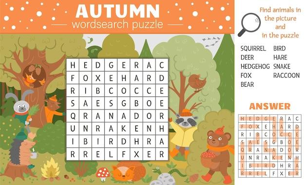 Puzzle di wordsearch stagione autunnale vettoriale per bambini. cruciverba semplice con scena autunnale e nascondigli di animali della foresta per bambini. attività di parole chiave educative con simpatici e divertenti animali del bosco