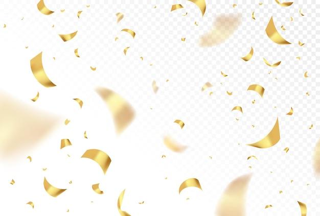 Vettore che cade coriandoli dorati lucidi isolati su sfondo trasparente. festa, festa di compleanno, celebrazione del capodanno carta luccicante d'oro. illustrazione realistica del design grafico