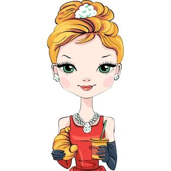 Ragazza moderna elegantemente vestita alla moda di vettore con caffè e croissant.