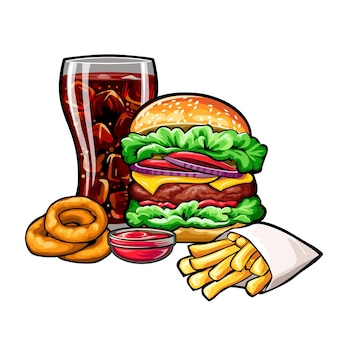 Composizione di fast food vettoriale su sfondo bianco