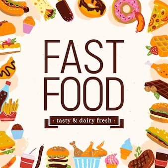 Illustrazione di cornice di fast food vettoriale con voci di menu di cibo spazzatura