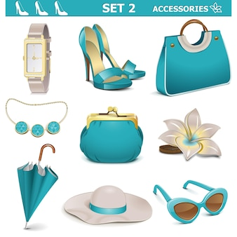 Set di accessori femminili vettoriali 2