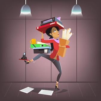 Personaggio femminile di affari di vettore in stile cartone animato occupato multitasking ufficio manager segretario aziendale...