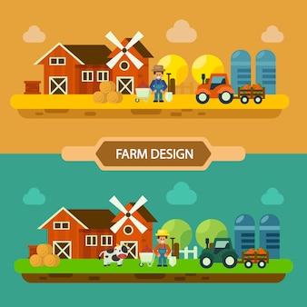 Vettore del concetto di paesaggio fattoria campo, estate e autunno fattoria, agricoltura e allevamento. illustrazione