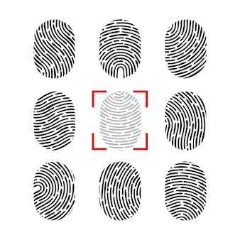 Set di impronte digitali vettoriale.