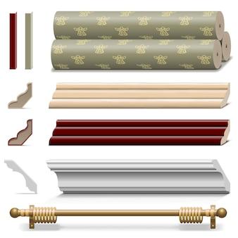 Materiali per pareti di finitura vettoriale isolati su sfondo bianco