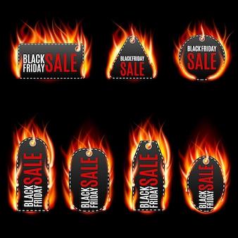 Set di etichette di fuoco vettoriale.