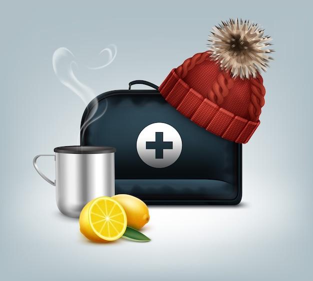 Scatola di kit di pronto soccorso vettoriale con berretto rosso lavorato a maglia con pom-pom, tazza termica calda, vapore e limone isolato su priorità bassa