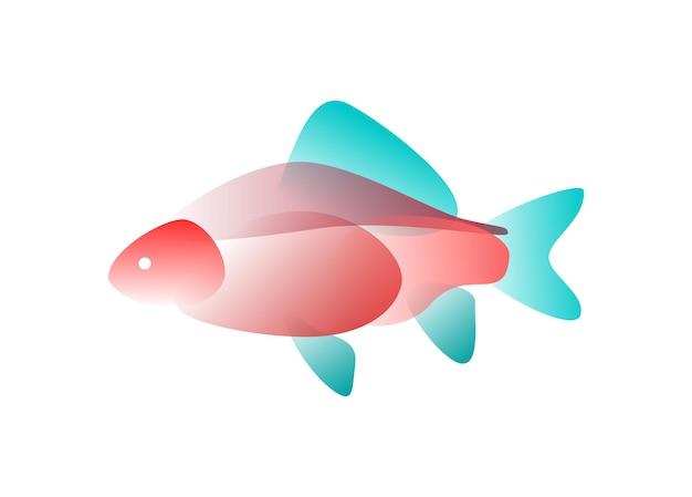 Pesce di vettore in stile sfumato. arte digitale