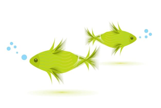 Vettore di un pesce isolato su bianco, illustrazione vettoriale
