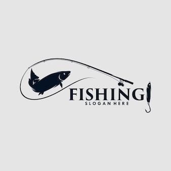 Pesce da pesca vettoriale con canna da pesca e design del logo del pesce esca