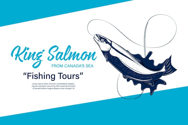 Logo di pesca vettoriale con salmone, canna da pesca, lenza, gancio e spruzzi d'acqua. torneo di pesca, tour e illustrazioni del campo