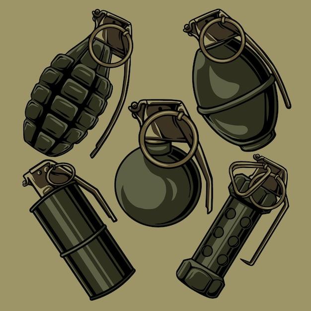 Vettore di cinque forme di una granata