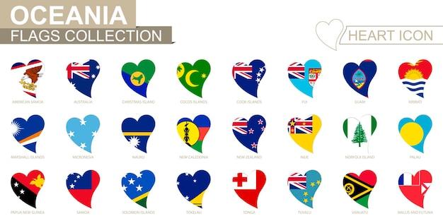Accumulazione della bandiera di vettore dei paesi dell'oceania. insieme dell'icona del cuore.