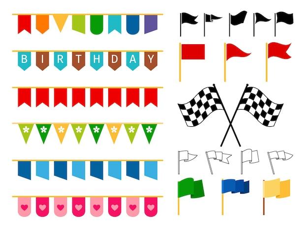 Ghirlande di bandiere vettoriali e bandiere di inizio e fine per la progettazione di biglietti d'invito, cordame luminoso di carnevale e ornamenti per bambini isolati su sfondo bianco