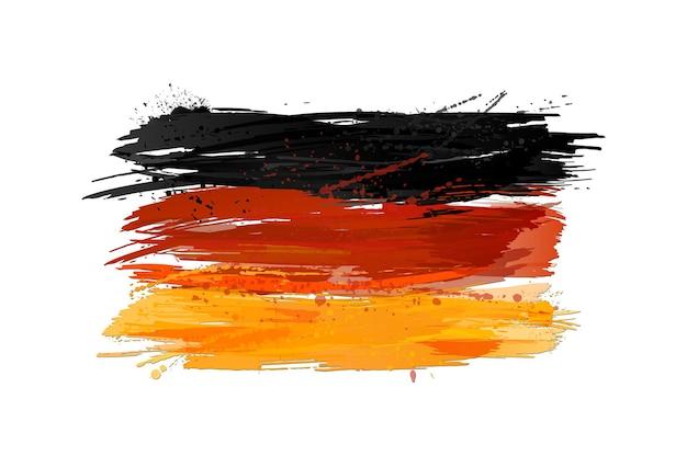 Bandiera vettoriale della germania realizzata con schizzi colorati