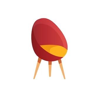 Sedia a sfera piatta del fumetto vettoriale isolata su mobili sfondo-moderno vuoto, elementi interni della stanza, concetto di vita domestica di comfort, design di annunci banner sito web