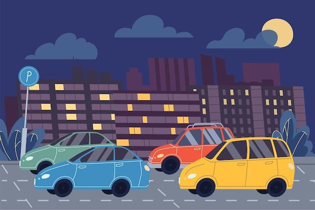 Le automobili piatte del fumetto di vettore sono nel parcheggio, parcheggio della città su un design di banner online di sfondo-web di notte paesaggio urbano, scena di vita della città, concetto di storia sociale