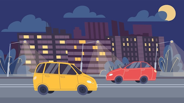 Le automobili piatte del fumetto di vettore guidano lungo la strada di notte, il traffico autostradale sul design di banner online di sfondo-web di paesaggio urbano, scena di vita della città, concetto di storia sociale