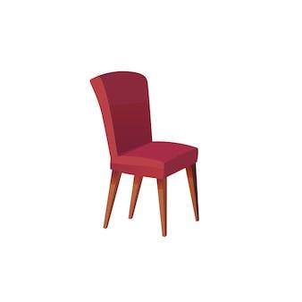 Sedia piatta vettoriale dei cartoni animati isolata su sfondo vuoto: mobili moderni, elementi interni della stanza, concetto di vita domestica di comfort, design di banner di siti web