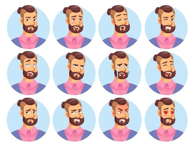 Emoticon di personaggio dei cartoni animati piatto vettoriale impostato.