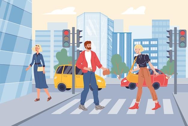 Personaggi dei cartoni animati piatti vettoriali nella scena della vita di città: persone che camminano lungo l'attraversamento pedonale, le auto passano sullo sfondo del paesaggio urbano.