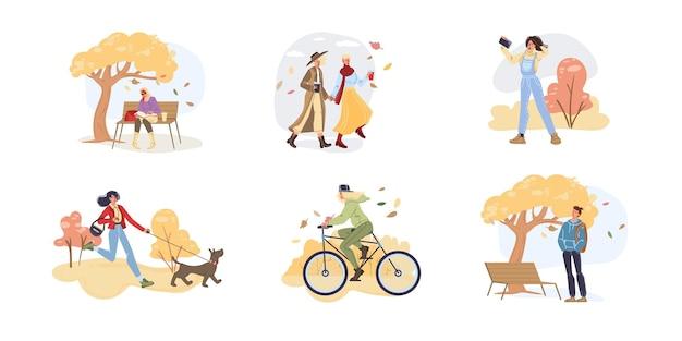 Personaggi dei cartoni animati piatti vettoriali che fanno attività autunnali e camminano all'aperto in foglie che cadono - moda, emozioni, concetto sociale di stile di vita sano