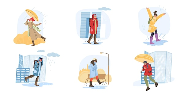 Personaggi dei cartoni animati piatti vettoriali che fanno attività autunnali e camminano all'aperto sotto la pioggia - moda, emozioni, concetto sociale di stile di vita sano