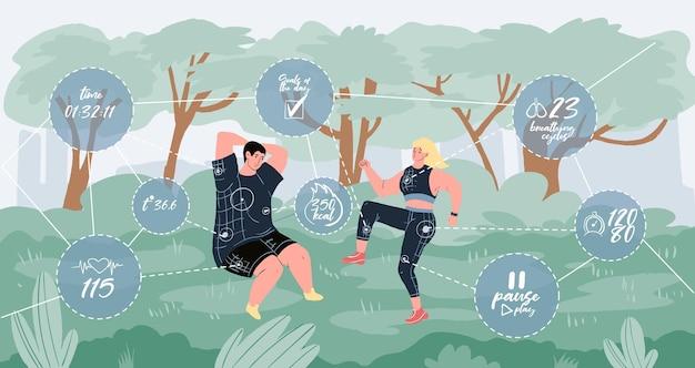 Personaggi dei cartoni animati piatti vettoriali che fanno attività sportive all'aperto nel parco