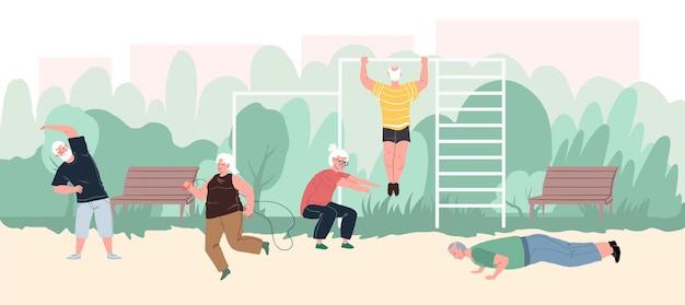 I personaggi dei cartoni animati piatti vettoriali, gli atleti anziani, si divertono con le attività sportive al parco.