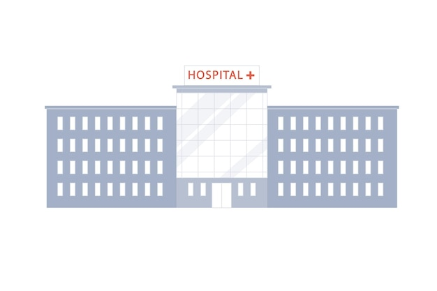 Edificio moderno dell'ospedale del fumetto piatto vettoriale isolato sul concetto di elementi esterni di sfondo-città vuota, design dell'annuncio banner del sito web