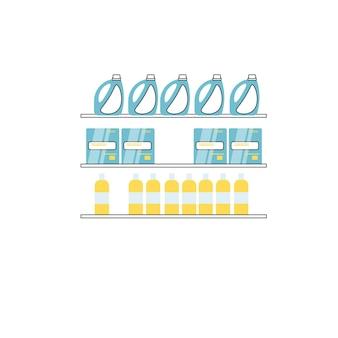 Scaffali della finestra del negozio del fumetto piatto vettoriale con diversi prodotti per la pulizia isolati sul concetto di elementi interni del negozio di prodotti chimici di sfondo-domestico vuoto, design dell'annuncio banner del sito web