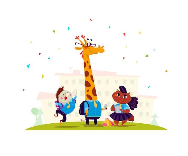 Accumulazione piana di vettore dello studente animale felice che sta all'edificio scolastico. torna a scuola illustrazione isolato. stile cartone animato.