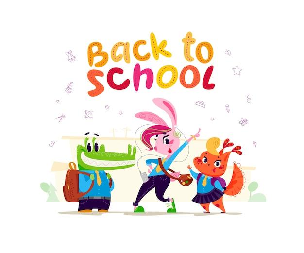 Accumulazione piana di vettore dello studente animale felice che sta all'edificio scolastico. torna a scuola illustrazione isolato.