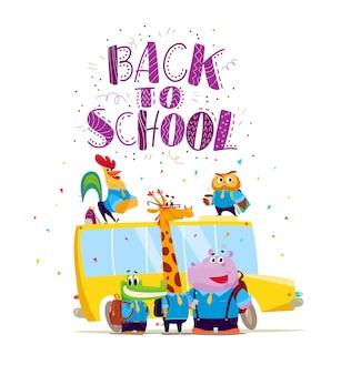 Accumulazione piana di vettore dello studente animale felice che sta allo scuolabus. torna a scuola illustrazione isolato. stile del fumetto, scritte.