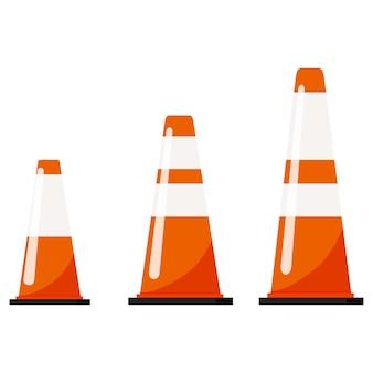 Illustrazione vettoriale di design piatto di coni di colore arancione traffico impostato con adesivi strisce riflettenti isolati su priorità bassa bianca.
