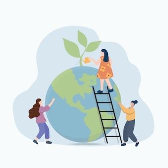 Illustrazione vettoriale piatta, piccoli uomini si preparano per la giornata della terra ad aprile, salvano il pianeta, risparmiano energia, l'ora della terra, il concetto di giornata della terra vector illustration