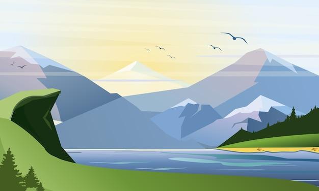 Illustrazione vettoriale piatto della natura con erba, foresta del lago, montagne e colline. attività all'aperto.