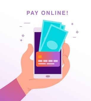 Illustrazione vettoriale piatta per pagamenti online e transazioni con mano umana che tiene smartphone con carta di credito e contanti sul suo schermo. perfetto per banner di app mobili, design di landing page.