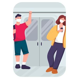 Illustrazione piana di vettore. le persone in metropolitana durante la pandemia indossano maschere. uomo e donna nel trasporto.