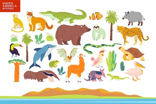 Illustrazione vettoriale piatta di animali del sud america, paesaggio, piante: coccodrillo, orso, anaconda, formichiere, scimmia, palma tucano, quercia, cactus. ottimo per infografiche, libri per bambini, alfabeto, banner