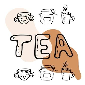 L'ora del tè con illustrazione piatta vettoriale con tazze di tè e caffè doodle oggetti isolati