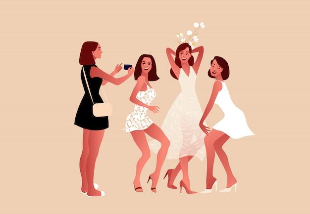 Vector piatta illustrazione. giorno del matrimonio.