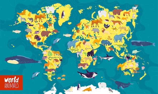 Illustrazione vettoriale piatta della mappa del mondo con i continenti degli oceani marini e gli animali locali