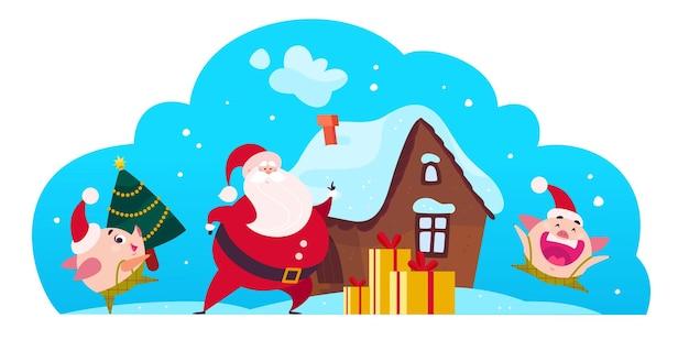 Vettore, appartamento, buon natale, illustrazione, di, babbo natale, carino, maiale, elfo, portare, decorato, anno nuovo, tree