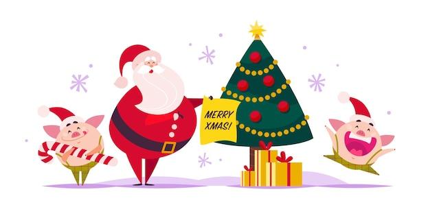 Vettore, appartamento, buon natale, illustrazione, di, babbo natale, carino, maiale, elfo, scatola regalo, a, decorato, new year