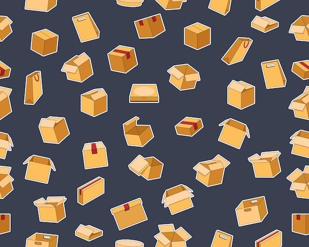Reticolo di struttura senza giunte piatto di vettore scatole di cartone. Vettore Premium