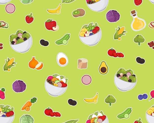 Reticolo piatto senza giunte di struttura di vettore insalata fresca. Vettore Premium