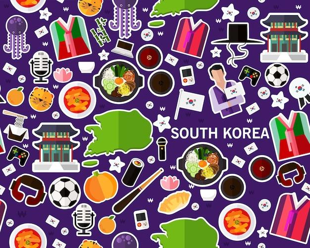 Il modello senza cuciture piano di vettore modella il sud corea